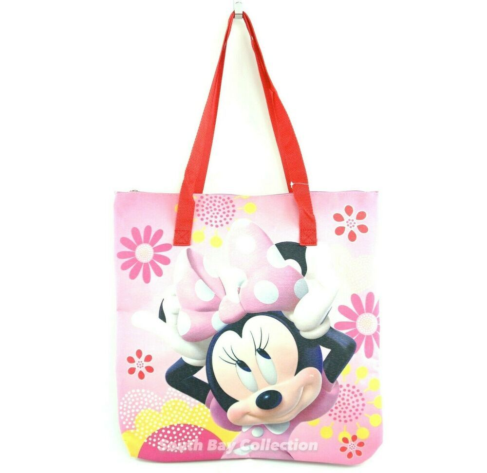 Minnie mouse large beach tote with zipper pink