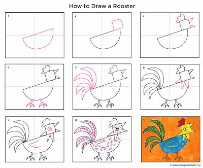 Art Projects For Kids How To Draw A Rooster Free Printer Friendly Pdf File Available For Download Rooster Art Art Lessons Art Classroom