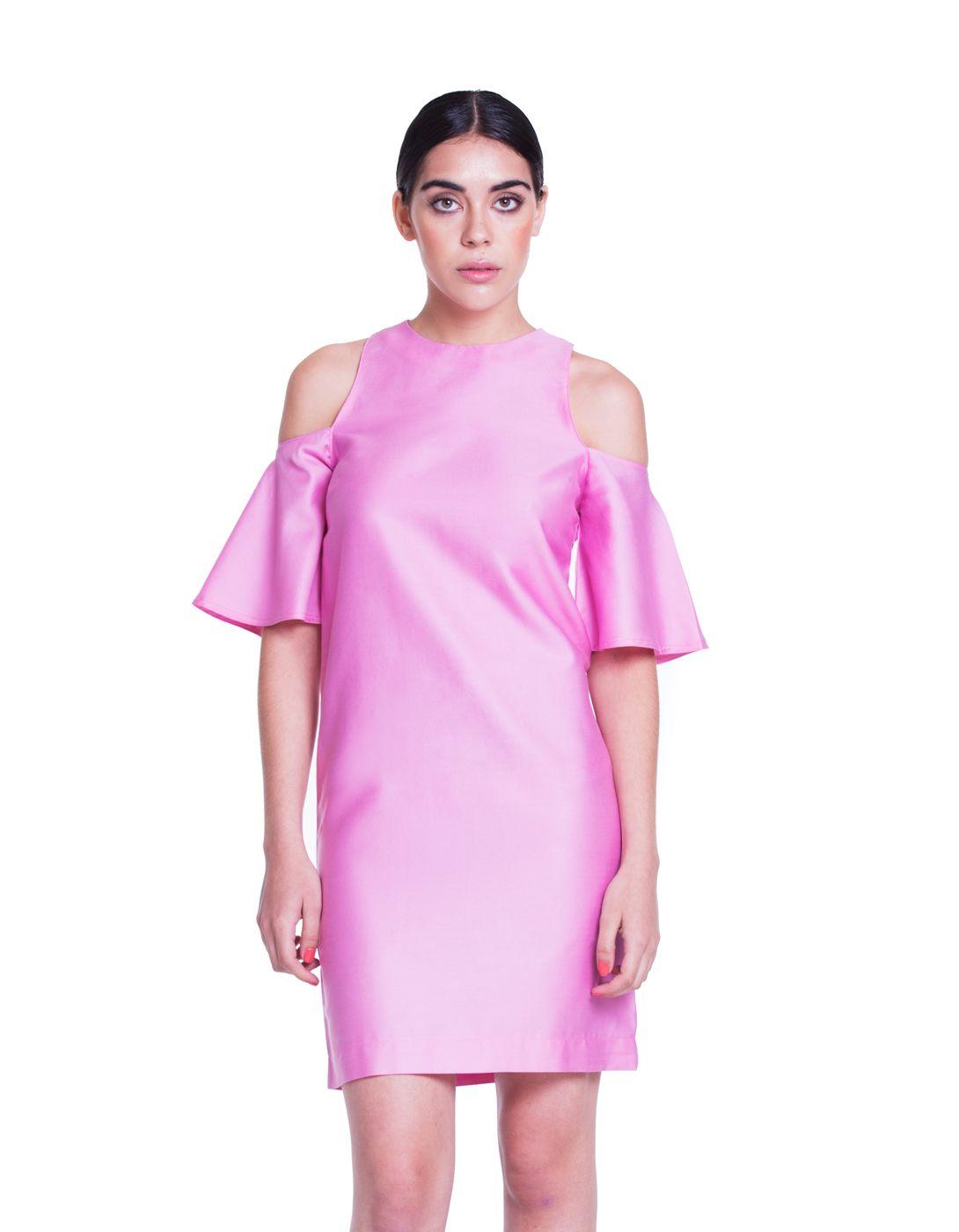 Vestido de algodón 100% en color rosa intenso. Corte recto, no marca ...