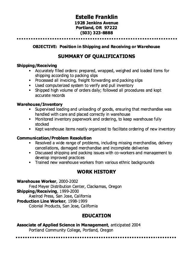 shipping and receiving resume objective examples
