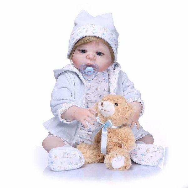 1836e8ede Bebê Reborn Menino Inteiro de Silicone Loiro Olhos Azuis Pode dar Banho  ENZO - Doce Criança