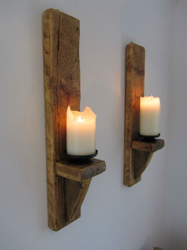 PAIR OF 60CM RUSTIC SOLID WOOD HANDMADE SHABBY CHIC WALL SCONCE CANDLE  HOLDER Listing In The Candles U0026 Candlesticks,Decorative,Home U0026 Garden  Category On ...