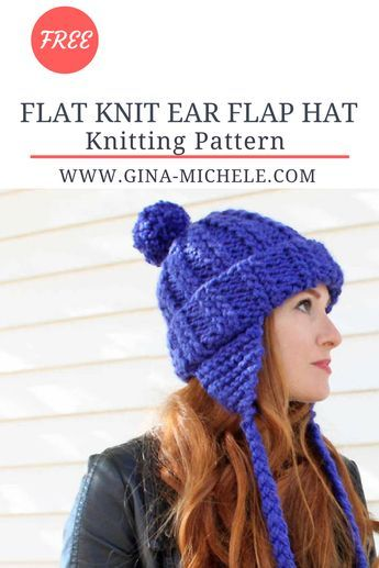 d08fb151901 Free knitting pattern for this Ear Flap Hat. It s knit flat so it s perfect  for beginners!