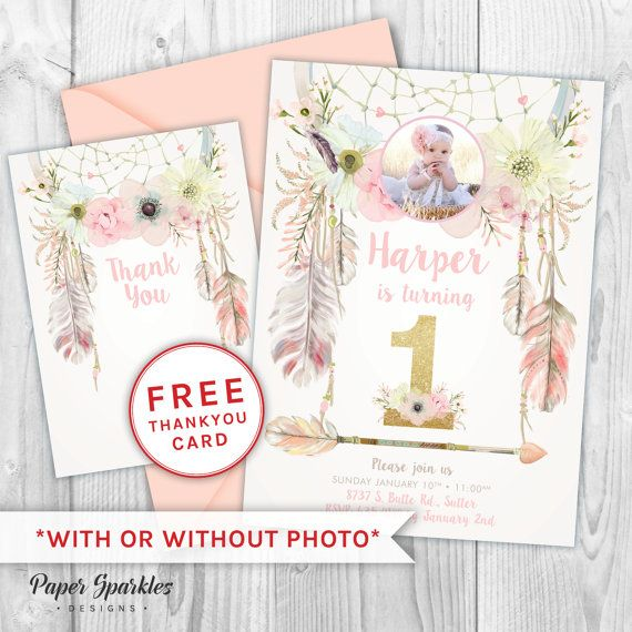 First birthday invitation, dream catcher invitation, glitter - first birthday invitation templates free