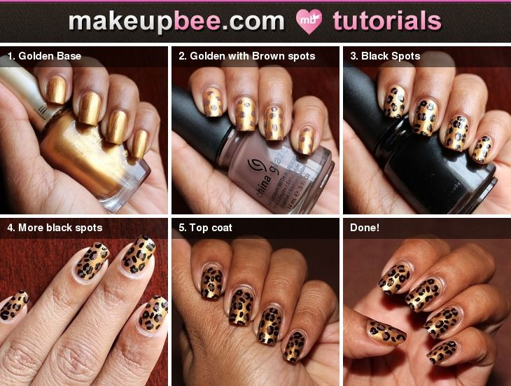 www.makeupbee.com    Step-By-Step Tutorial for Golden Leopard Nails