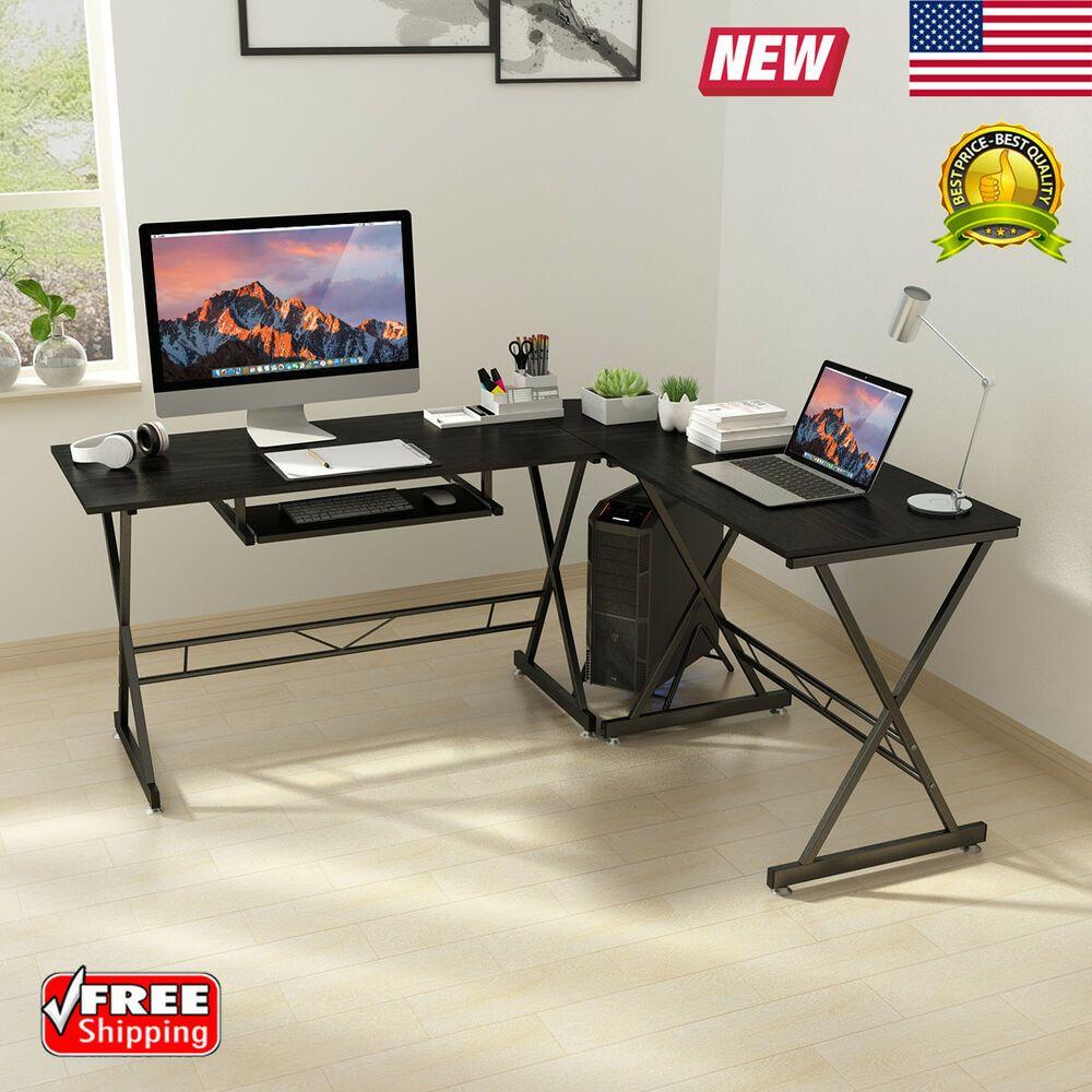 Corner Computer Desk L Shaped Wood Study Office Table Workstation Keyboard Tray Affilink Desk Desksetup Deskorga Corner Computer Desk Pc Desk Computer Desk