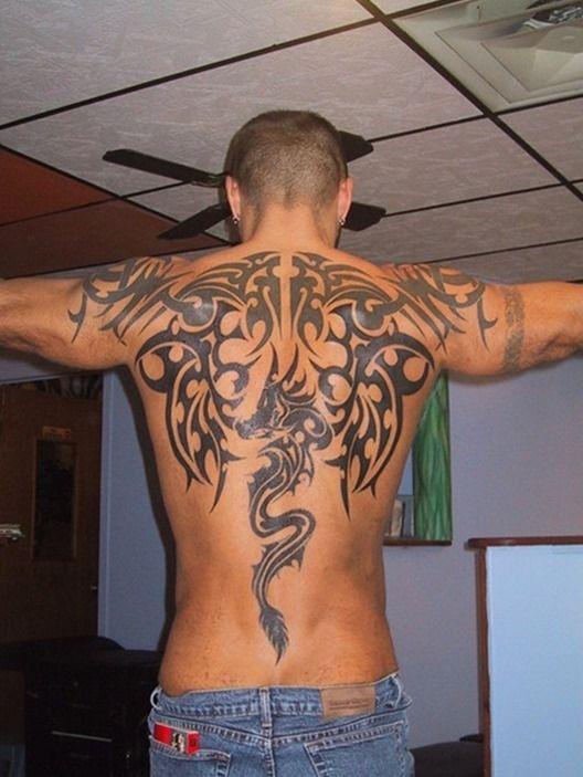 e902e6d6a20 Tribal Back Dragon Tattoos for Men