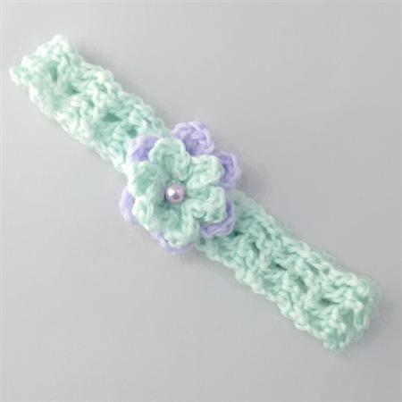 baby girl | crochet headband aqua & mauve flower + bead | newborn - 9 months