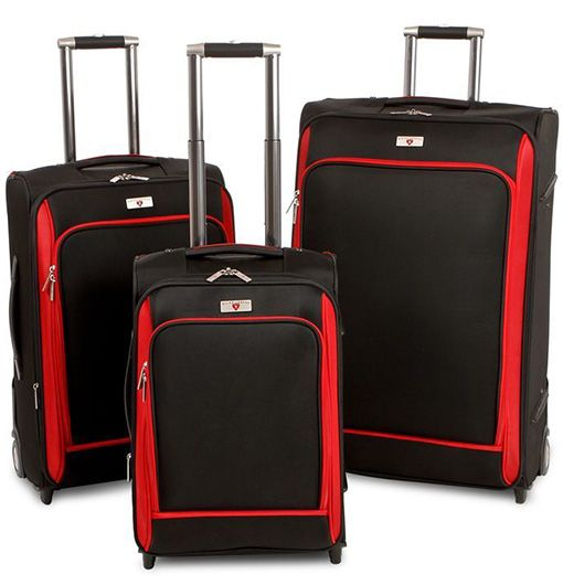 "$199.99 Swiss Legend Deluxe 3-Piece Luggage Set with 20"", 24"", and 28"" Wheeled Upright Suitcases!"