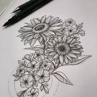 Pencil Sketches Of Sunflowers Google Search Tattoos