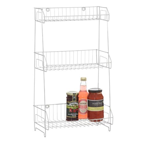 Howards Storage World | Wall Mountable 3 Tier Storage Rack   Chrome (Round)