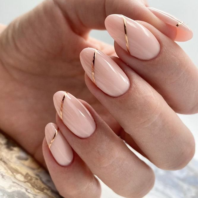 Nude Nails With Gold Stripes