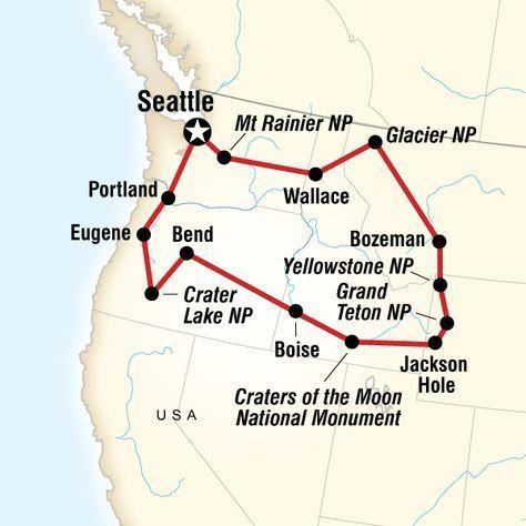Karte Der Nationalparks Im Nordwesten Der Usa Autoreisen Reisen