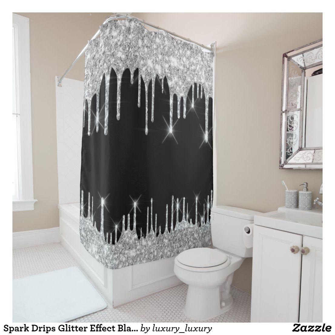Amazon Com Sinatra Bling Silver Grey Fabric Shower Curtain