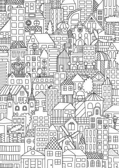 House Room Coloring Page: City Illustration By Http://ankepanke.nl