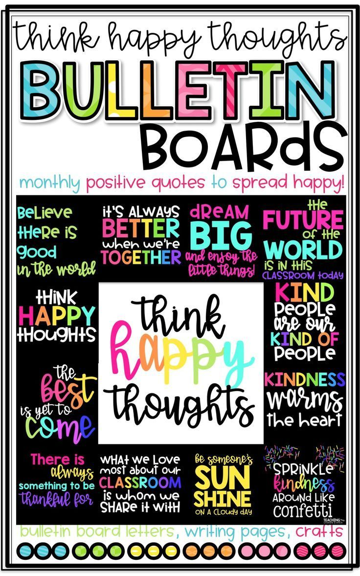 Positive Bulletin Boards Think Happy Thoughts The Bundle