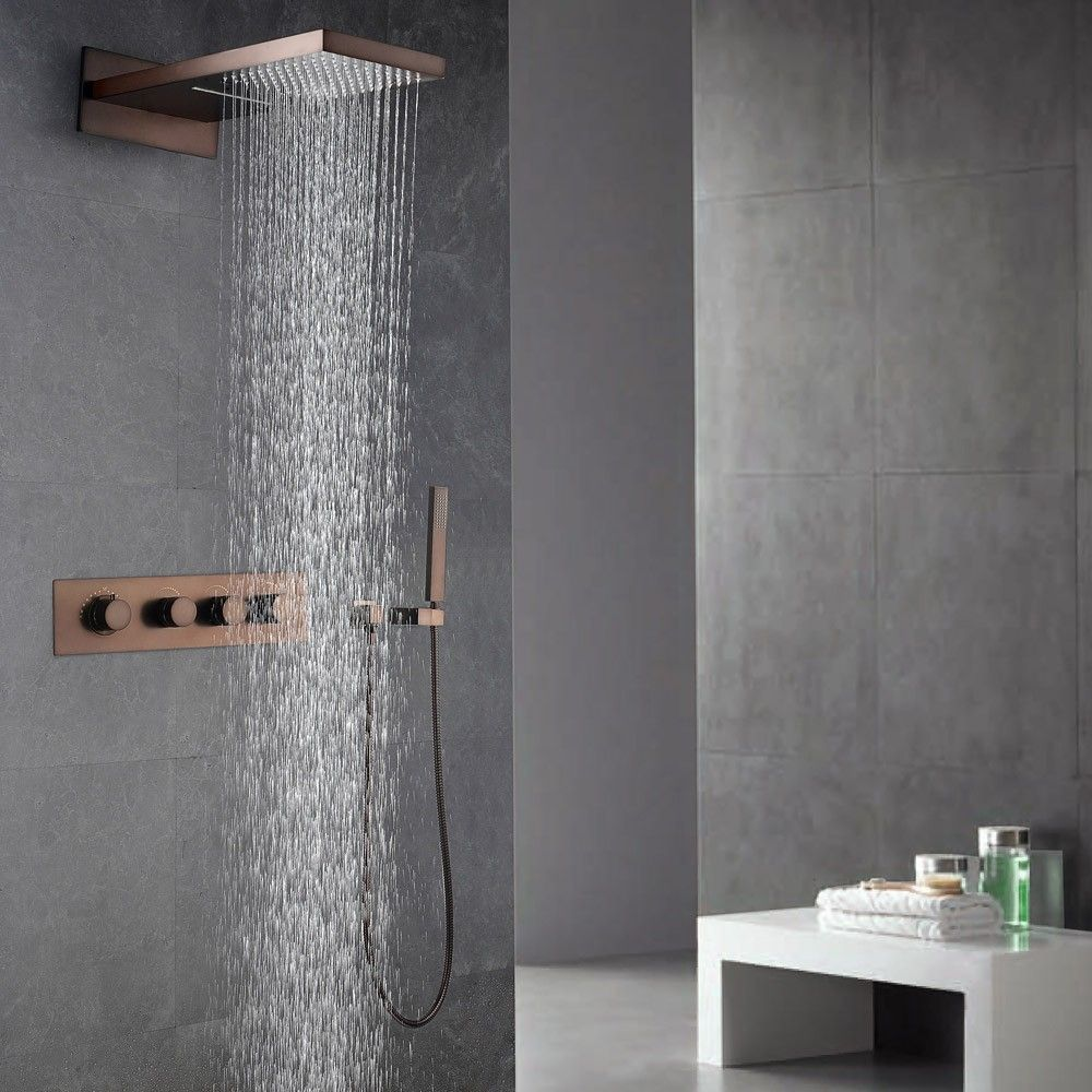 Waterfall Rain Shower Head & Handheld Shower Set in Oil Rubbed ...