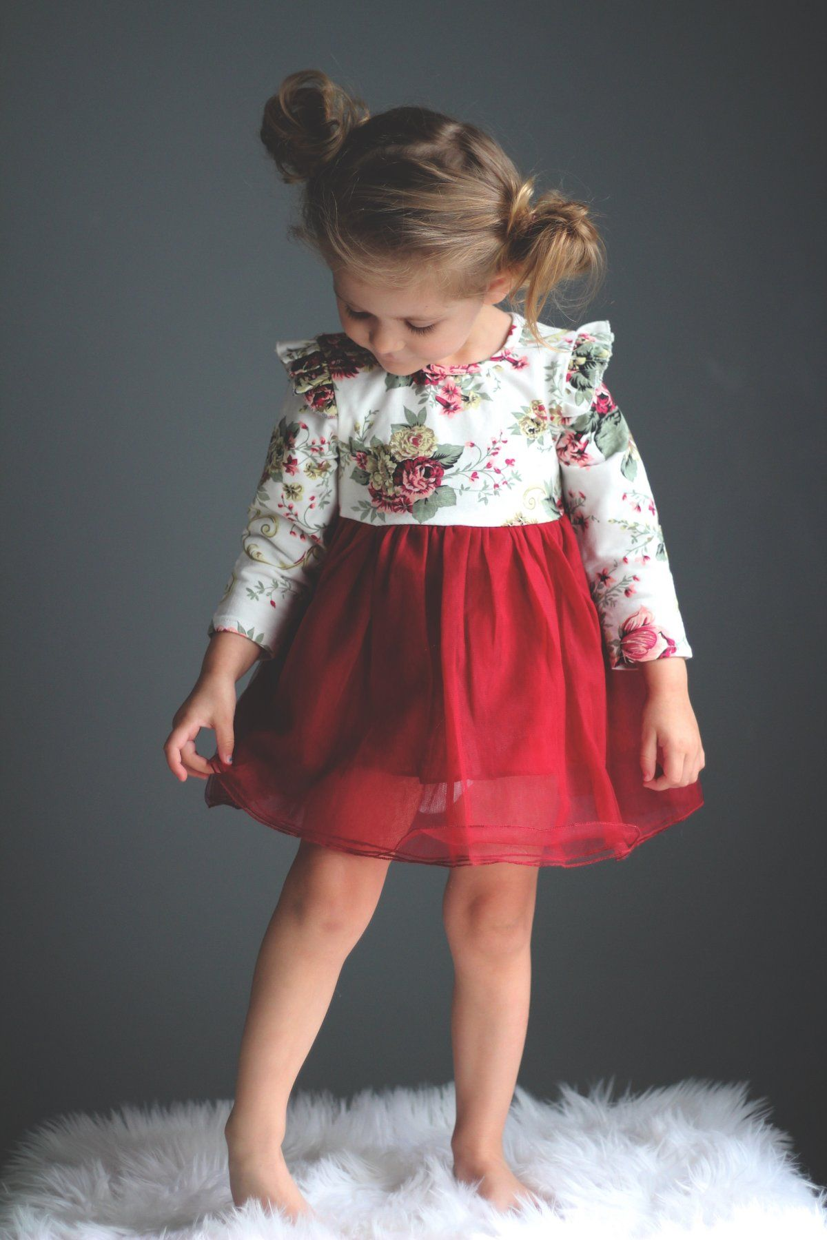 Girls Vintage Floral Dress  Toddler fashion, Girls christmas