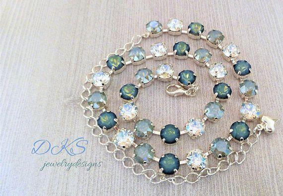 b02878566 Crystal Necklace, Swarovski, Bridal, Choker, 8mm, Blue, Grey,  DKSJewelrydesigns, FREE SHIPPING