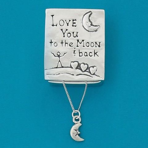 """""""Love you to the moon and back"""" Pewter Gift Box with Moon Charm Necklace"""