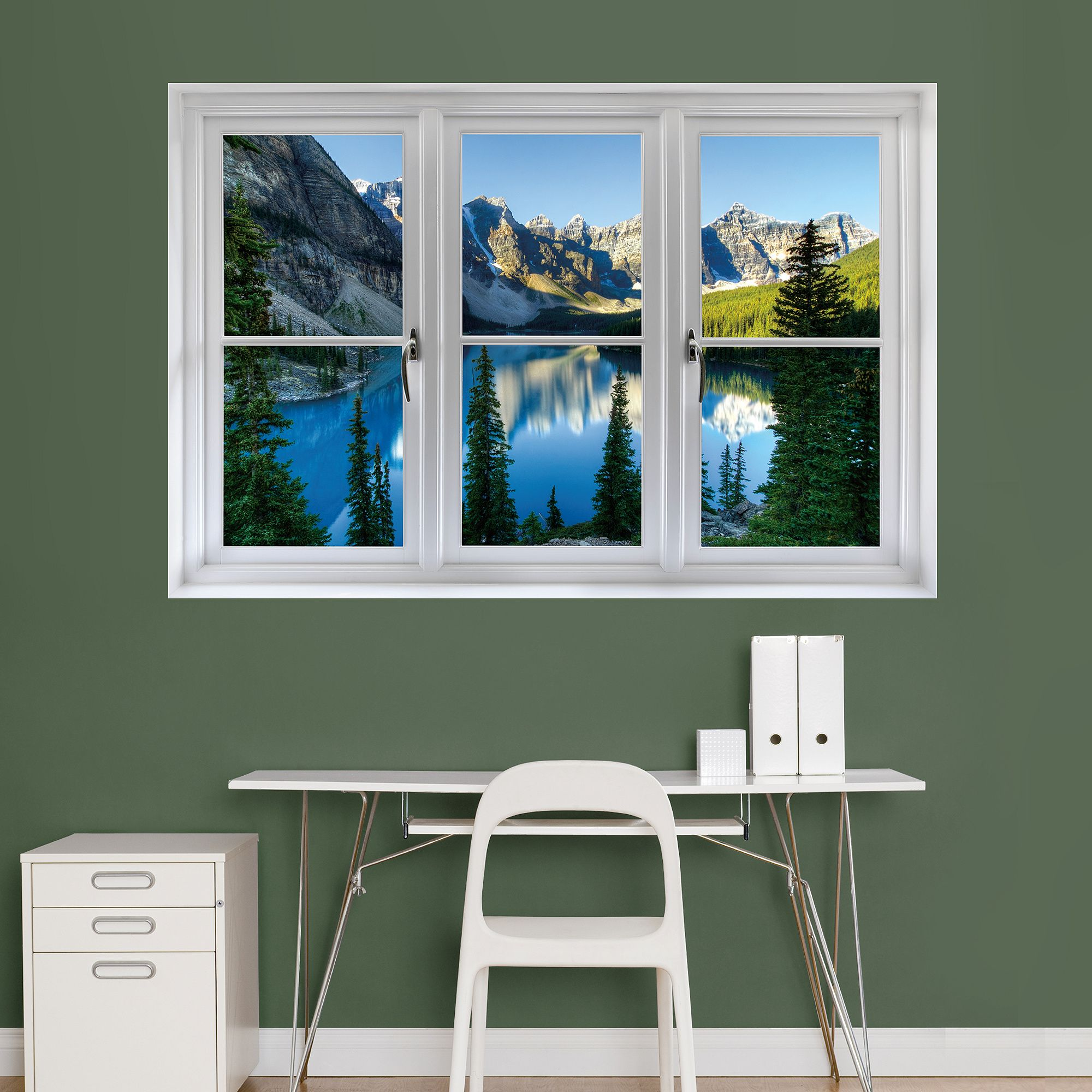 Instant Window Banff Mountains And Lake Giant Removable Wall Graphic Faux Window Window Wall Office Without Windows