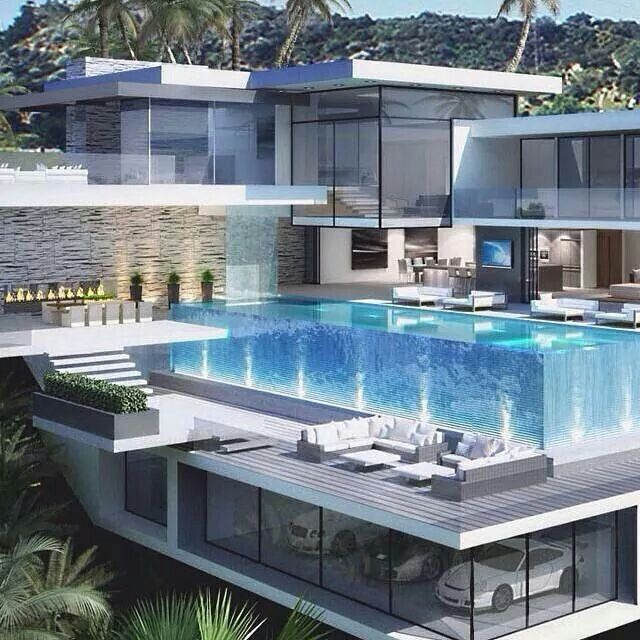 Luxury Mansions With Swimming Pools: Subterranean Garage Under The Pool