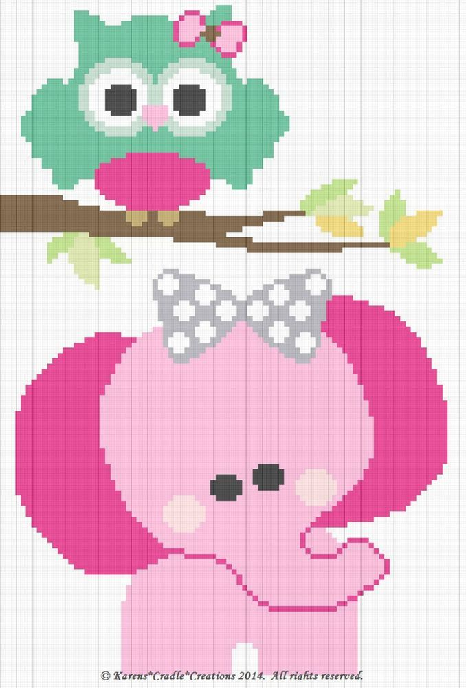 Crochet Patterns - OWL and ELEPHANT Graph/Chart BABY Afghan Pattern ...