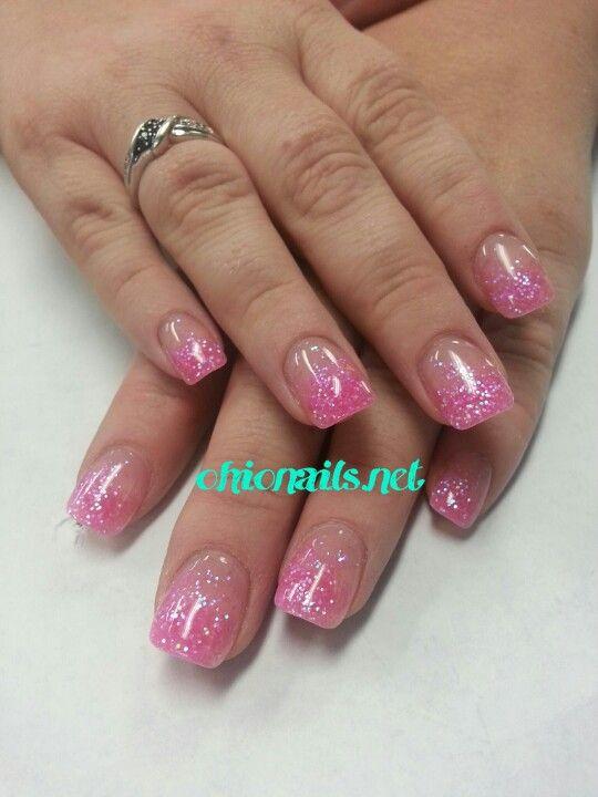 Glittery pink acrylic powder