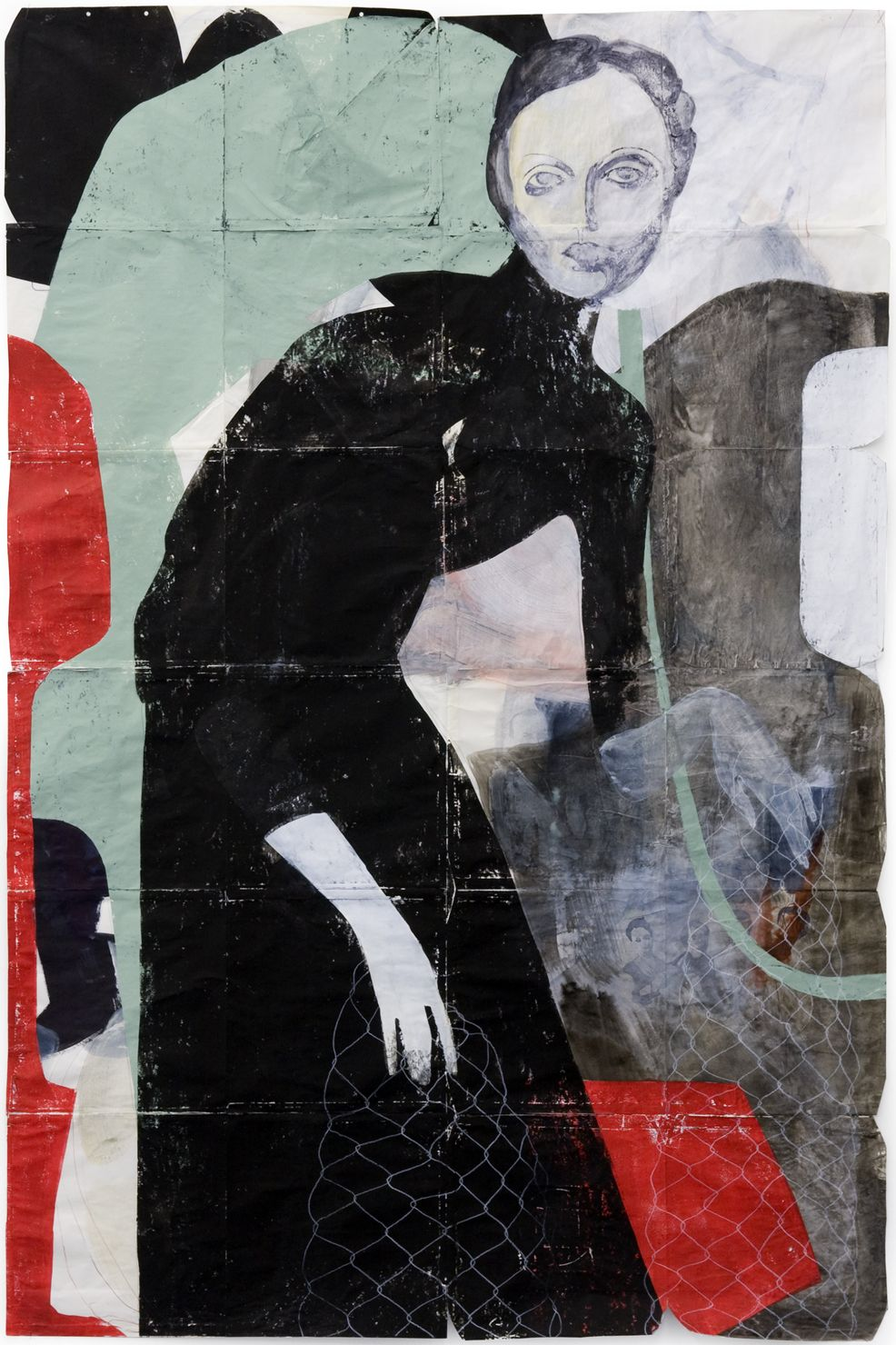 """Low Spark, From the series The Listeners, TINA BERNING, Mixed Media on paper, 72"""" x 48"""""""