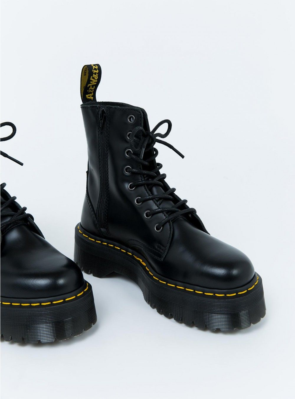 3d2b979420718f Dr. Martens Jadon Boots Black Polished. You can wear them with tight mini  dress