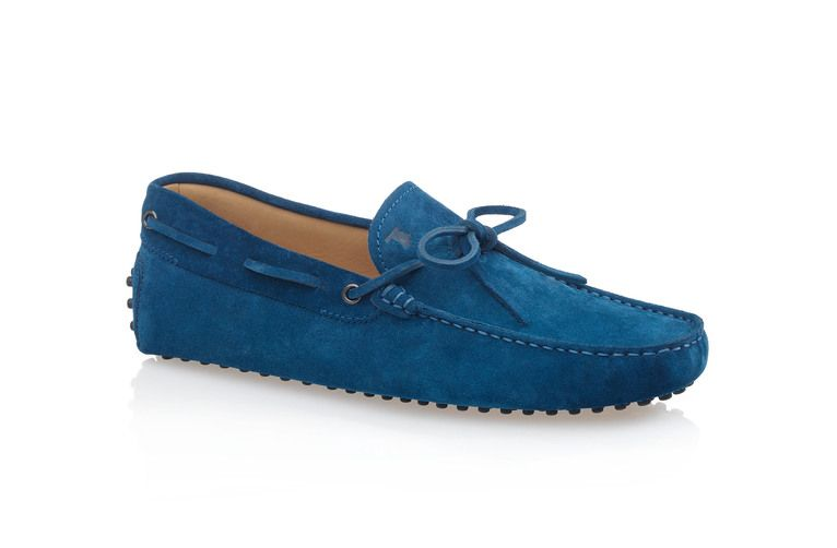 894e681123a Tod s - Men s Gommino Suede Driving Mocassins With Front Tie - Persian Blue