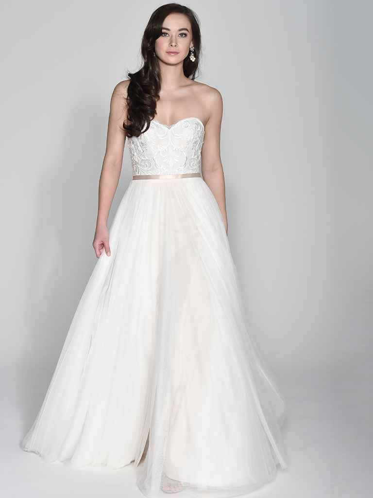 da030a9da9a Wtoo by Watters Spring 2018 tulle A-line wedding dress with beaded bodice