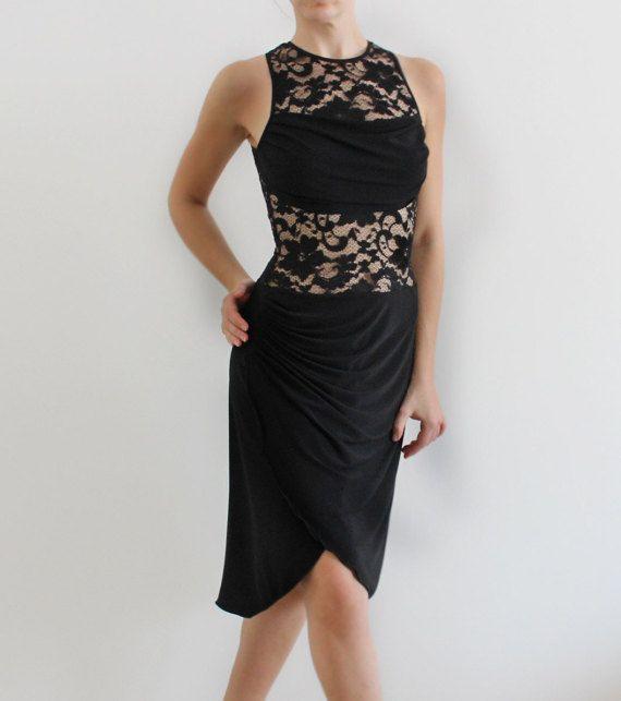 ff9fb545b411a Tango Milonga Lace Black dress, Argentine tango clothing, social ...