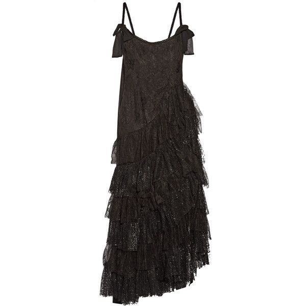 Alessandra Rich Swan asymmetric tiered lace and flocked tulle gown ($1,185) ❤ liked on Polyvore featuring black and alessandra rich