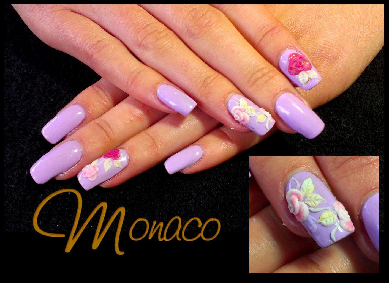 Hand sculpted nail art 3d acrylic flowers nailsbymonaco