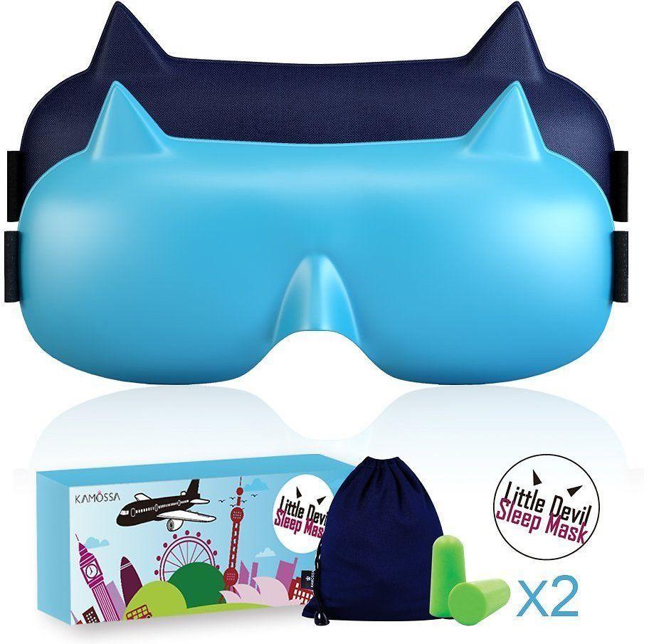 KAMOSSA Little Devil Sleep Mask Memory Foam Eye Mask Super Lightweight Sleeping Mask Free Earplugs