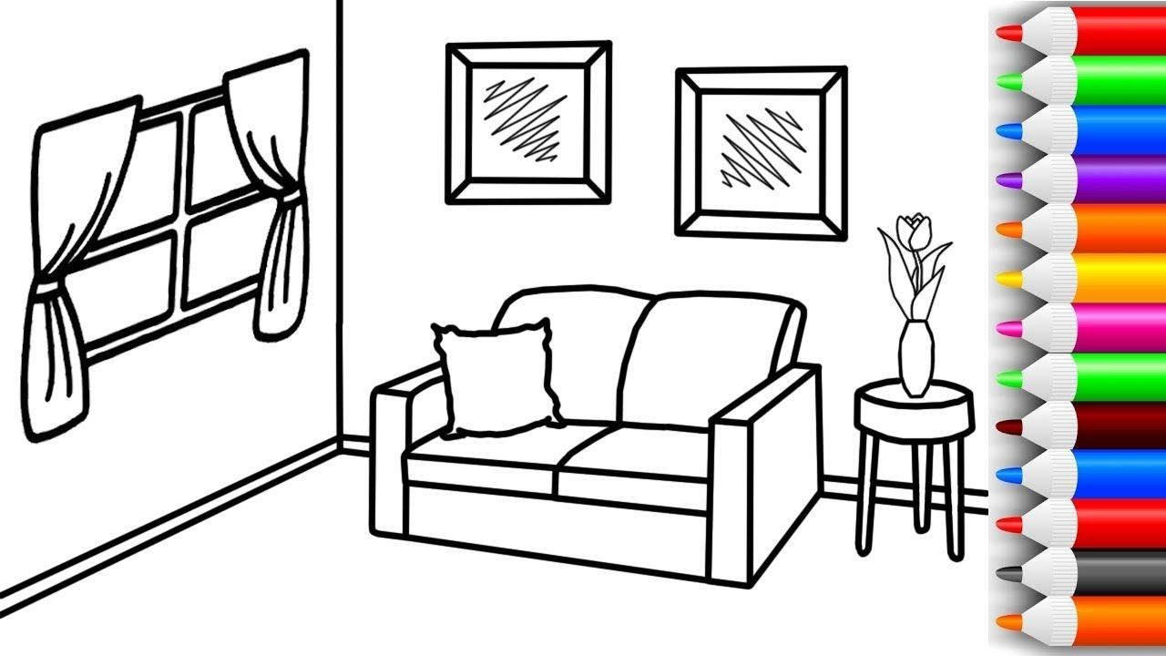 How to Draw and Color Living room Coloring Pages for Kids Learn ...