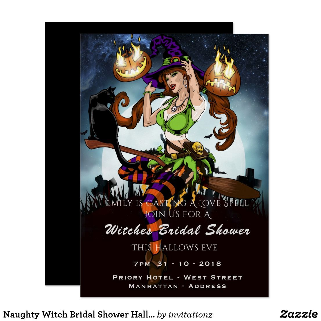 Naughty Witch Bridal Shower Halloween Party Invite | Bridal showers ...