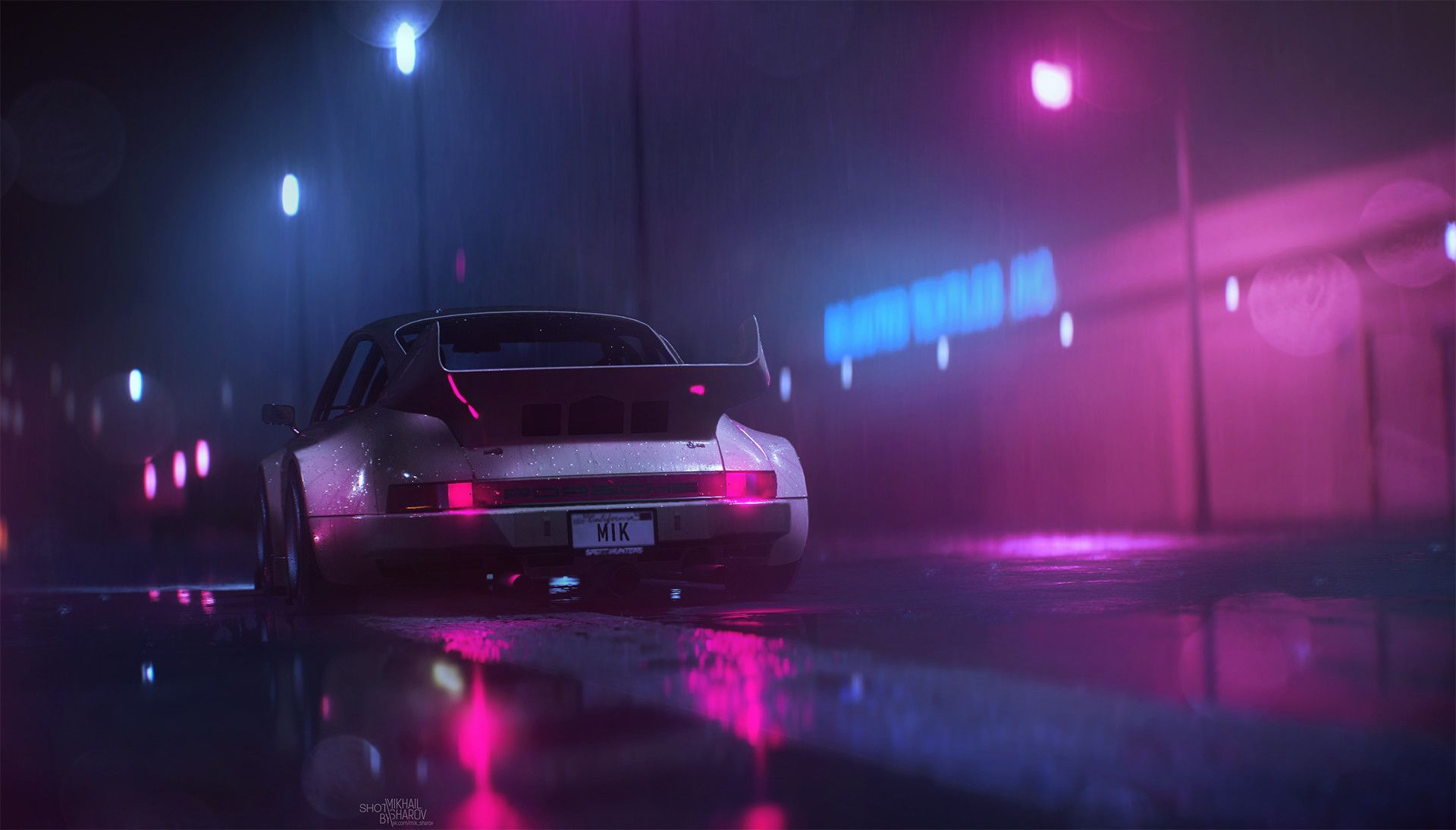 Neon Nights Mikhail Sharov Vaporwave Wallpaper Background Images Wallpapers Neon Wallpaper