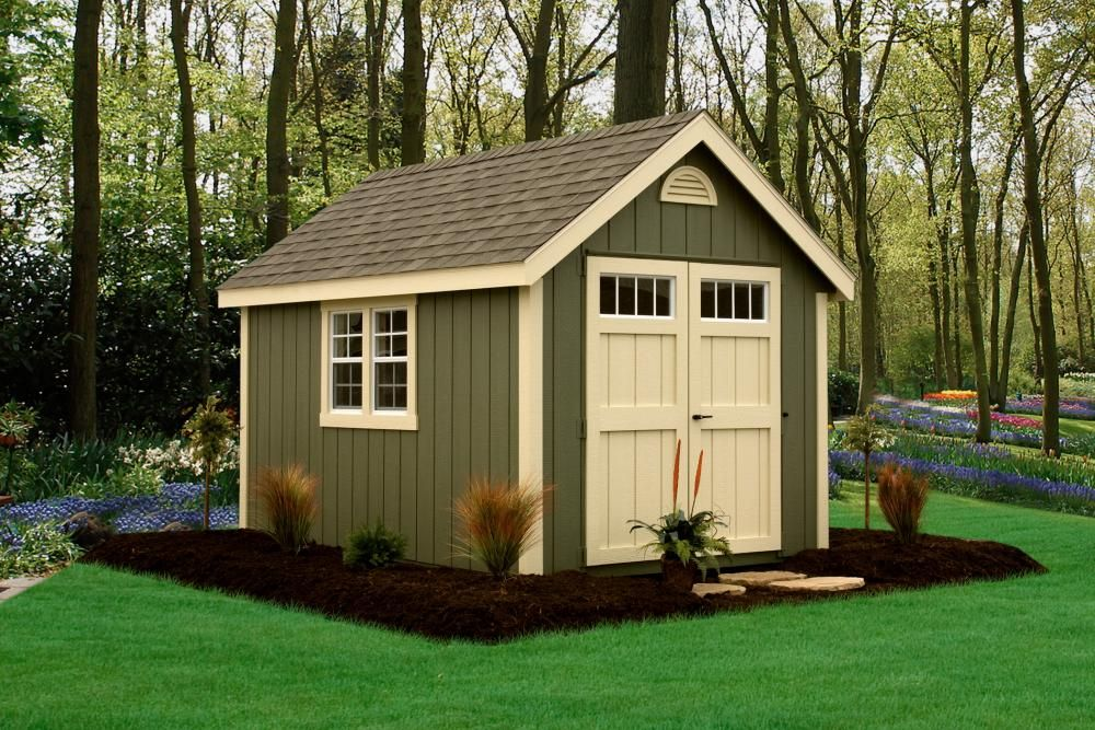 Deluxe Classic 8 X 12 Avocado Green Siding Almond Trim And Doors Slate Architectural Shingles Yard Sheds Backyard Storage Sheds Backyard Sheds