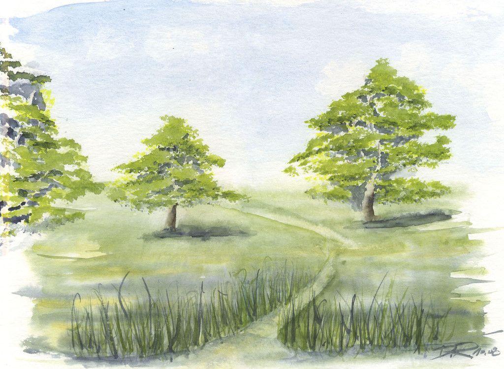 Im Grunen Landschaften Malen Gras Malen Und Landschaft Zeichnen