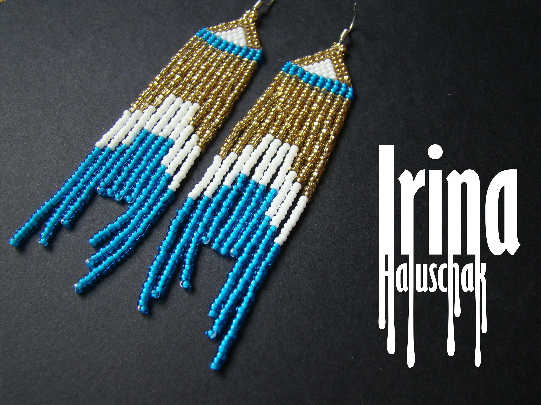 Blue And Gold Boho Earrings Beaded Earrings Emerald Earrings Seed Bead  Earrings Fringe Earrings Dangle Earrings Very Long Earrings