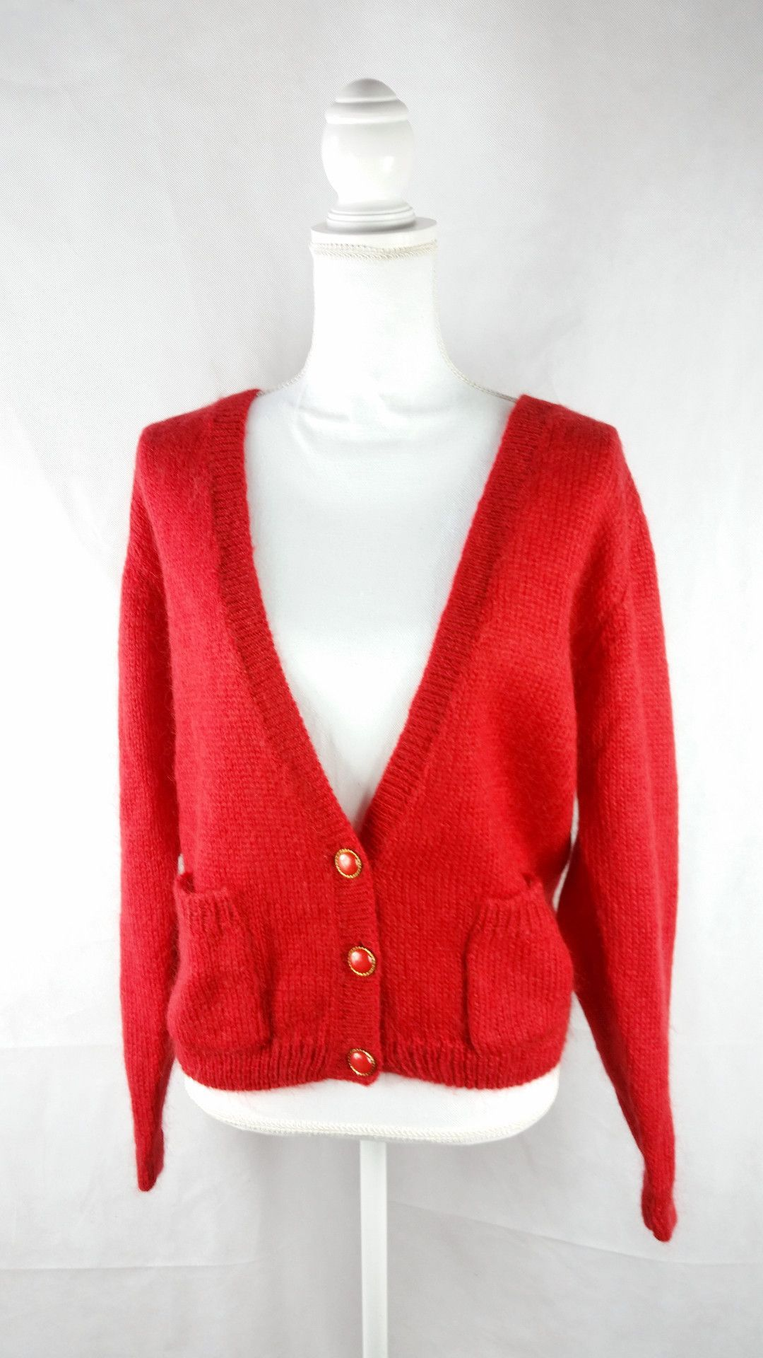 Vintage Red Gold Chunky Cardigan Sweater Sz L/XL | Red gold and ...