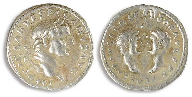 "69-79, Denar, Vespasian, Roman emperor time. Commercial Code Bust with laurel wreath to the right and inscription. Rev: The heads of Titus and opposite Domitianus of each other and inscription ""CAESAR AVG F COS CAESAR AVG F PR"". RIC 2, handle trace, ss.    Dealer  Dr. Reinhard Fischer Auktionen    Auction  Minimum Bid:  80.00 EUR"