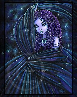 Celestial Djinn Fairy Art Nebula Purple Star Nova Myka Jelina Ltd Ed CANVAS