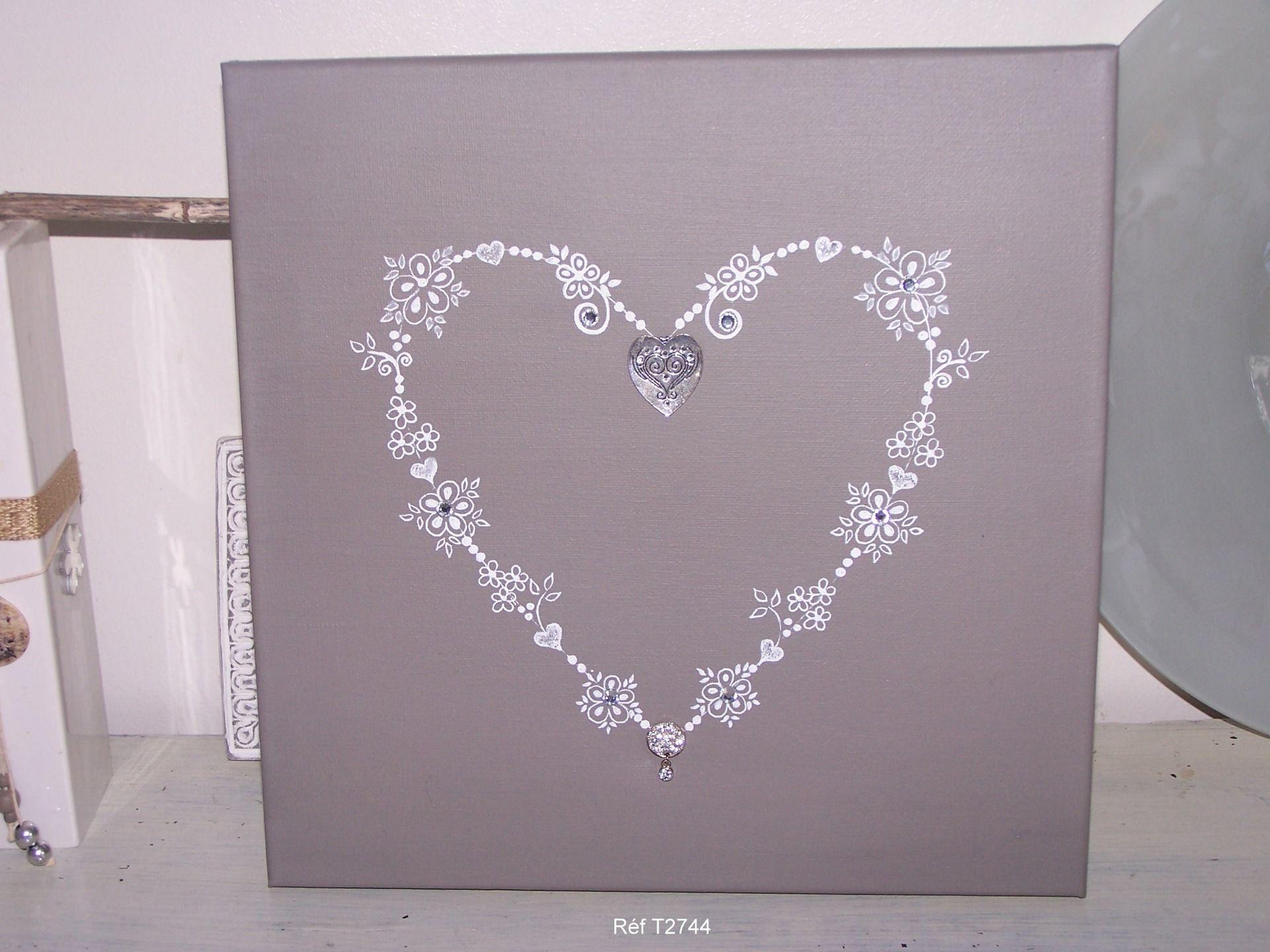 Tableau coeur, coeur, objet peints, décoration IDEE CADEAU ... on