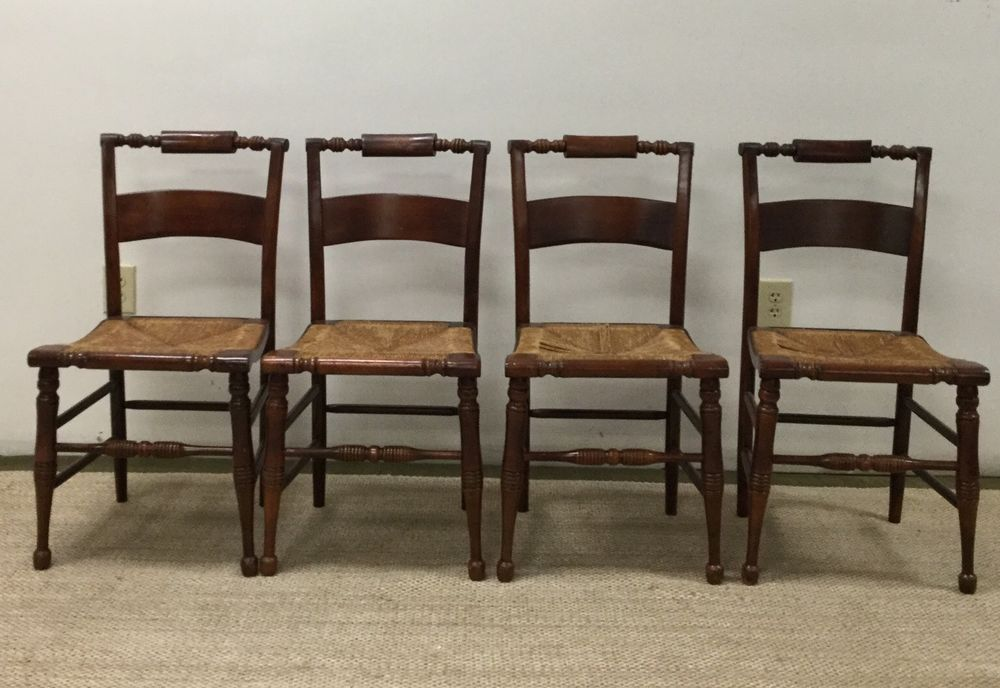 SET OF 4 High Point Bending U0026 Chair Co. CHAIRS HITCHCOCK STYLE RUSH BOTTOM  SEATS