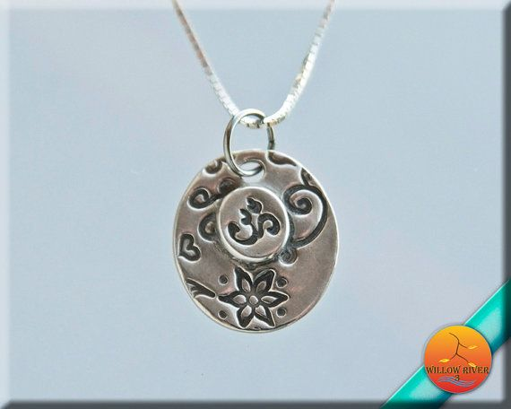 Ohm Necklace Fine Silver Boho Om Charm with by WillowRiver3