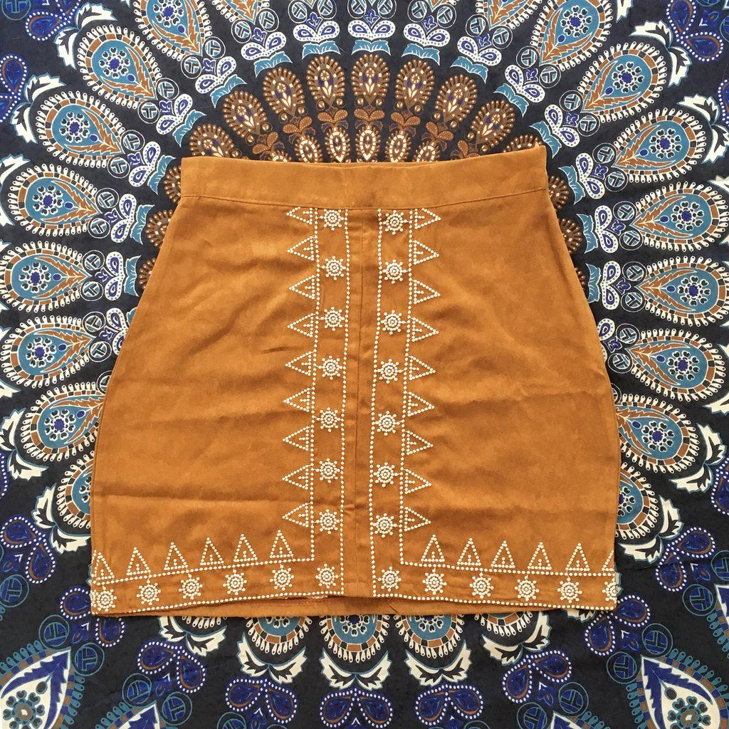 Special Discount Embroidery A Line Skirt Black And Brown