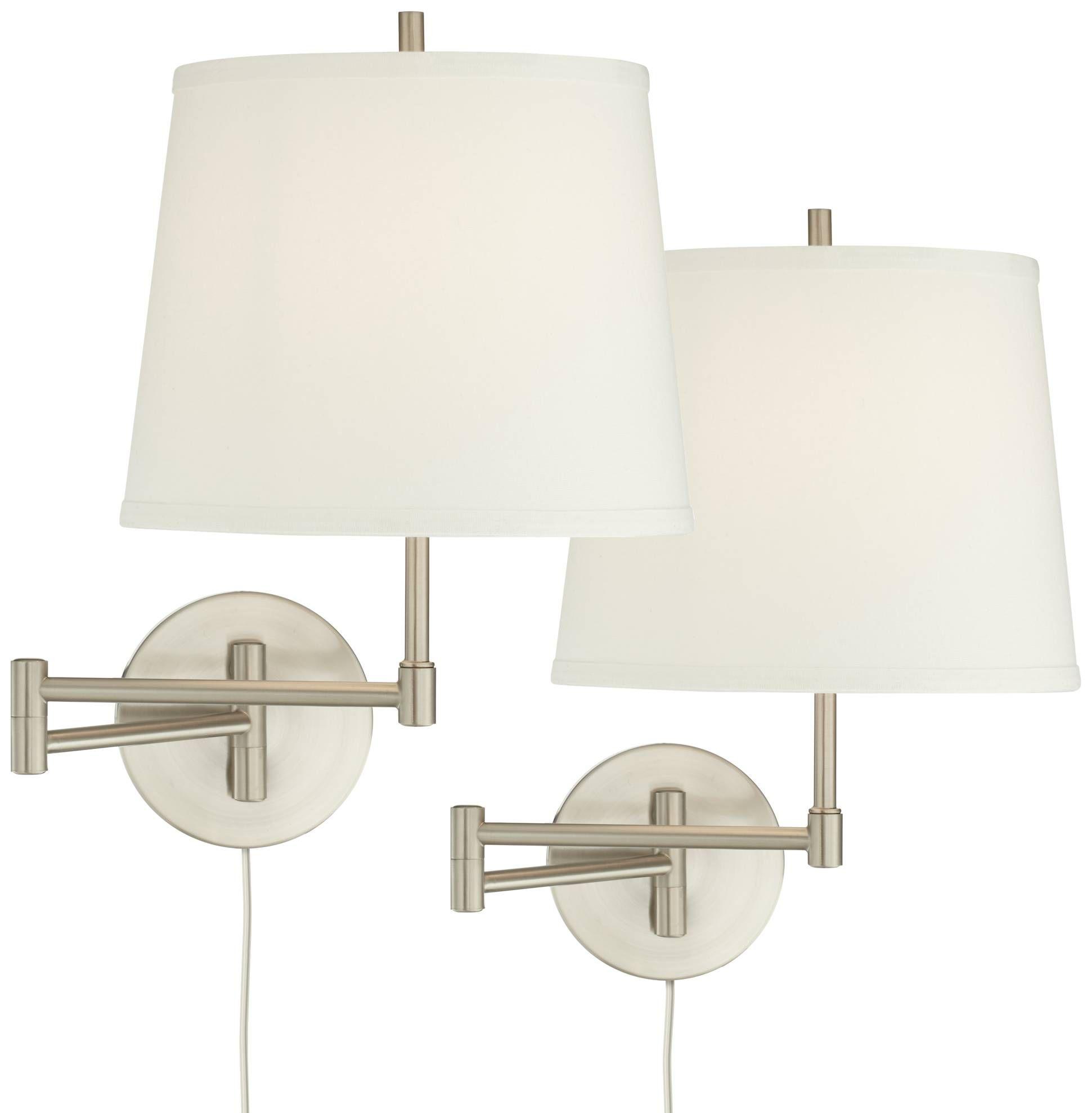 Oray Brushed Nickel Swing Arm Wall Lamp Set Of 2 1m557 Lamps Plus Swing Arm Wall Lamps Wall Lamp Wall Lamp Design